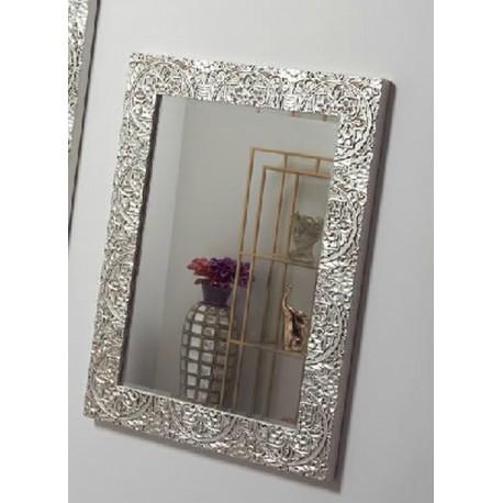 Espejo Con El Marco Decorado Plata Terraendins