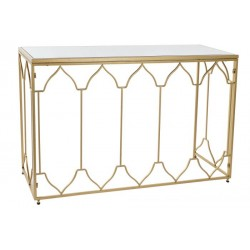 Cónsola metal con espejo dorado 120x40x78 cm