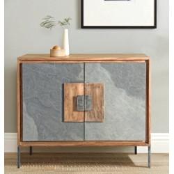 Mueble Auxiliar acacia y piedra natural 88x20x78 cm.