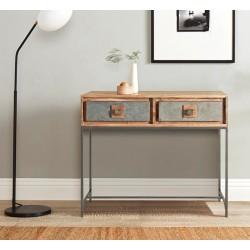 Consola madera acacia y piedra natural 90x30x78 cm.