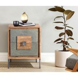 Mueble auxiliar madera acacia y piedra natural 43x40x62 cm.