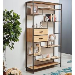 Libreria metálica y madera 100x30x180 cm.