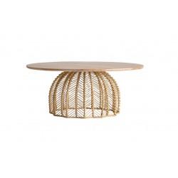 Mesa centro redonda madera de mindi y ratán 100x100x47 cm.