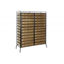 Mueble auxiliar estructura metálica 20 cajones de madera 100x32x129cm