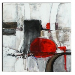 Cuadro moderno c rculo rojo terraendins - Cuadros pintados a mano online ...