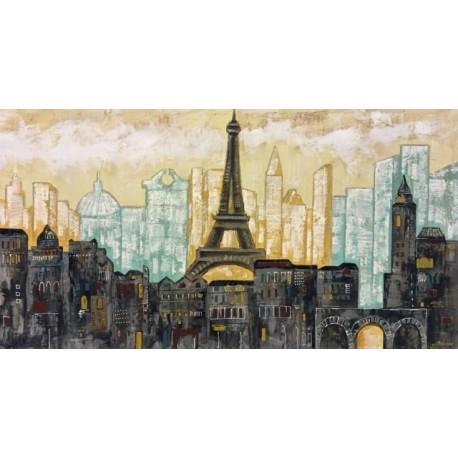 Ciudad de par s terraendins - Cuadros pintados a mano online ...
